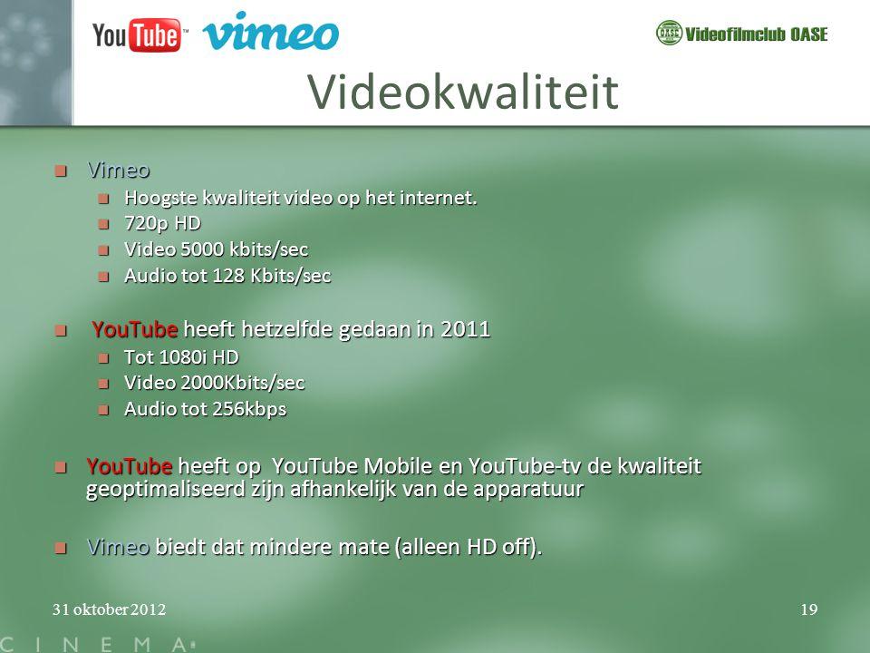 Videokwaliteit Vimeo YouTube heeft hetzelfde gedaan in 2011