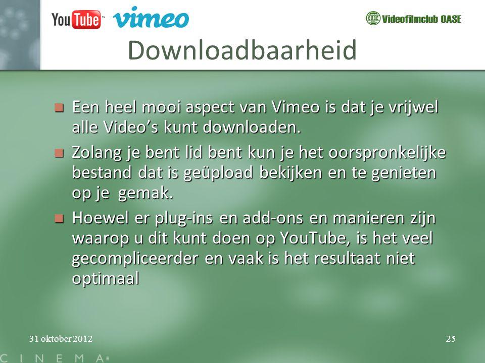 Downloadbaarheid Een heel mooi aspect van Vimeo is dat je vrijwel alle Video's kunt downloaden.
