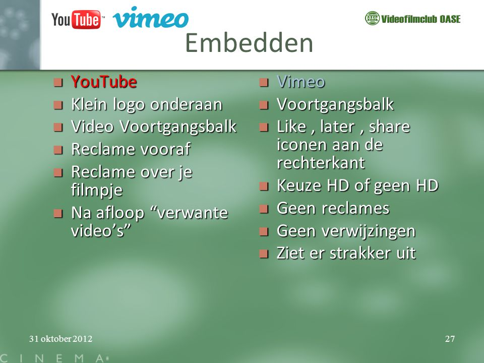 Embedden YouTube Klein logo onderaan Video Voortgangsbalk