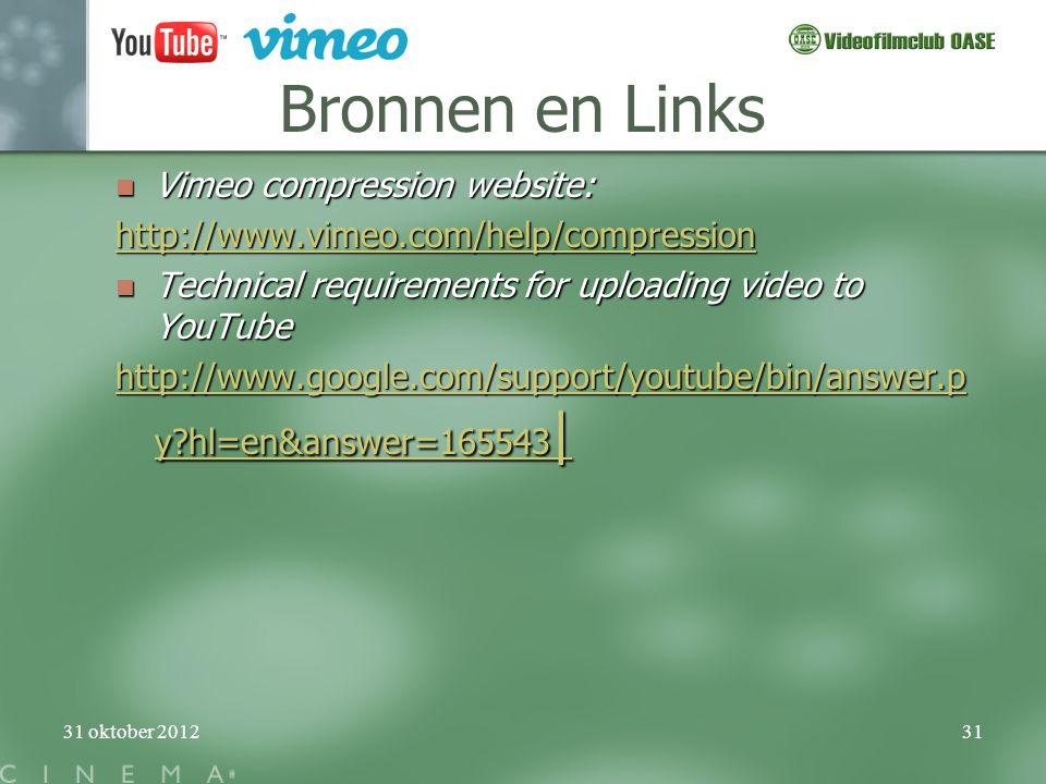 Bronnen en Links Vimeo compression website: