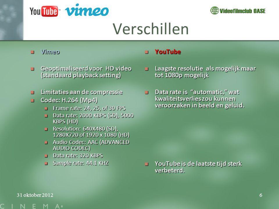 Verschillen Vimeo. Geoptimaliseerd voor HD video (standaard playback setting) Limitaties aan de compressie.