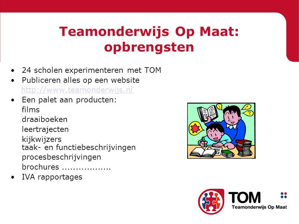 Teamonderwijs Op Maat: opbrengsten