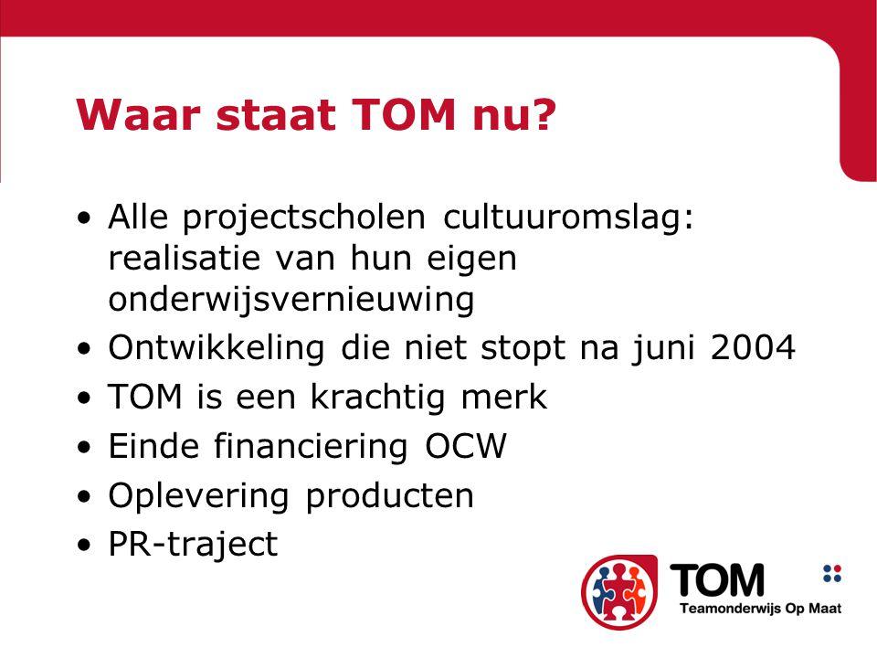 Waar staat TOM nu Alle projectscholen cultuuromslag: realisatie van hun eigen onderwijsvernieuwing.