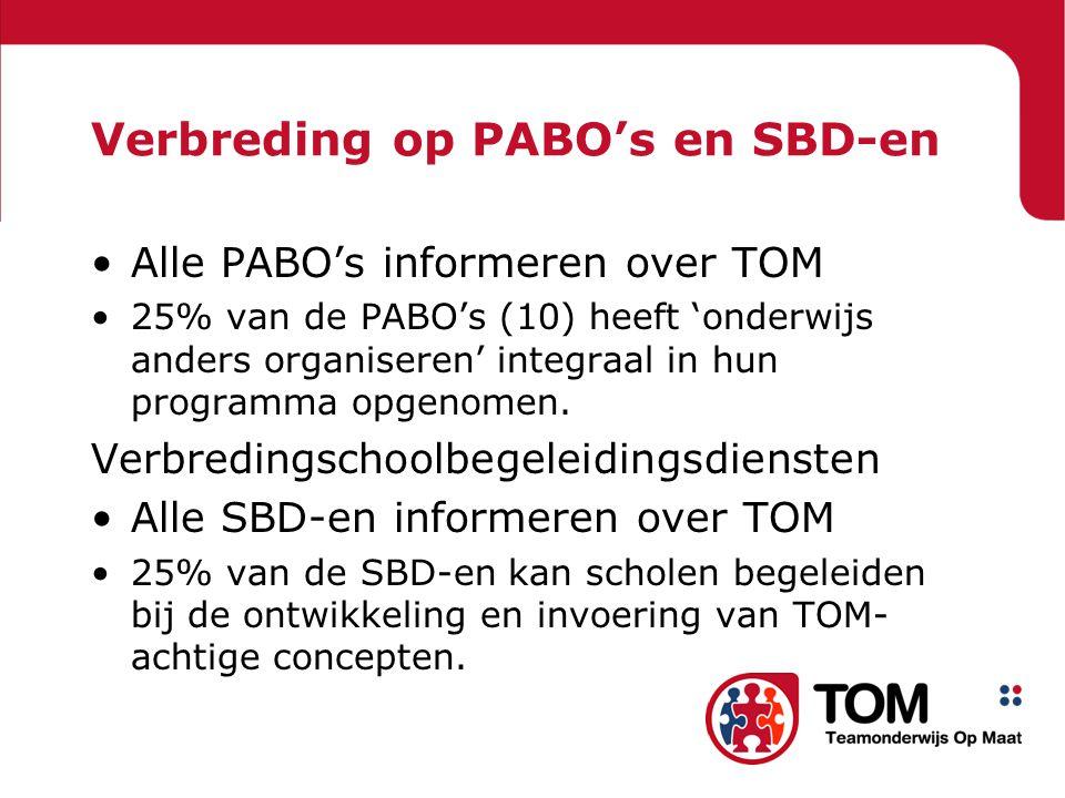 Verbreding op PABO's en SBD-en