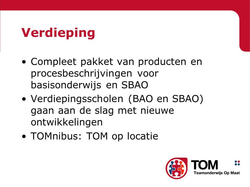Verdieping Compleet pakket van producten en procesbeschrijvingen voor basisonderwijs en SBAO.