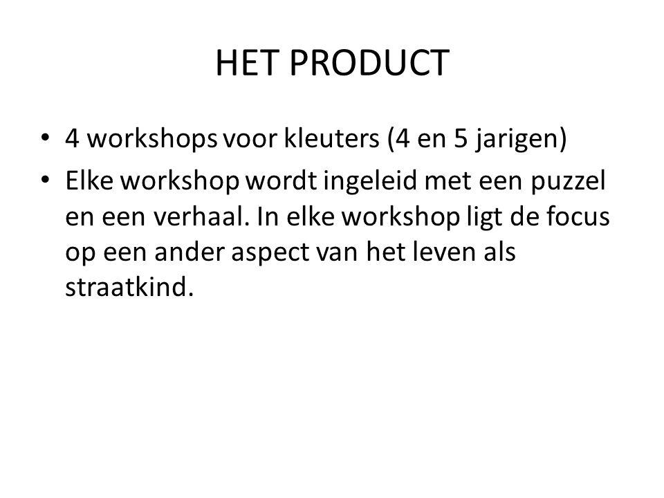 HET PRODUCT 4 workshops voor kleuters (4 en 5 jarigen)