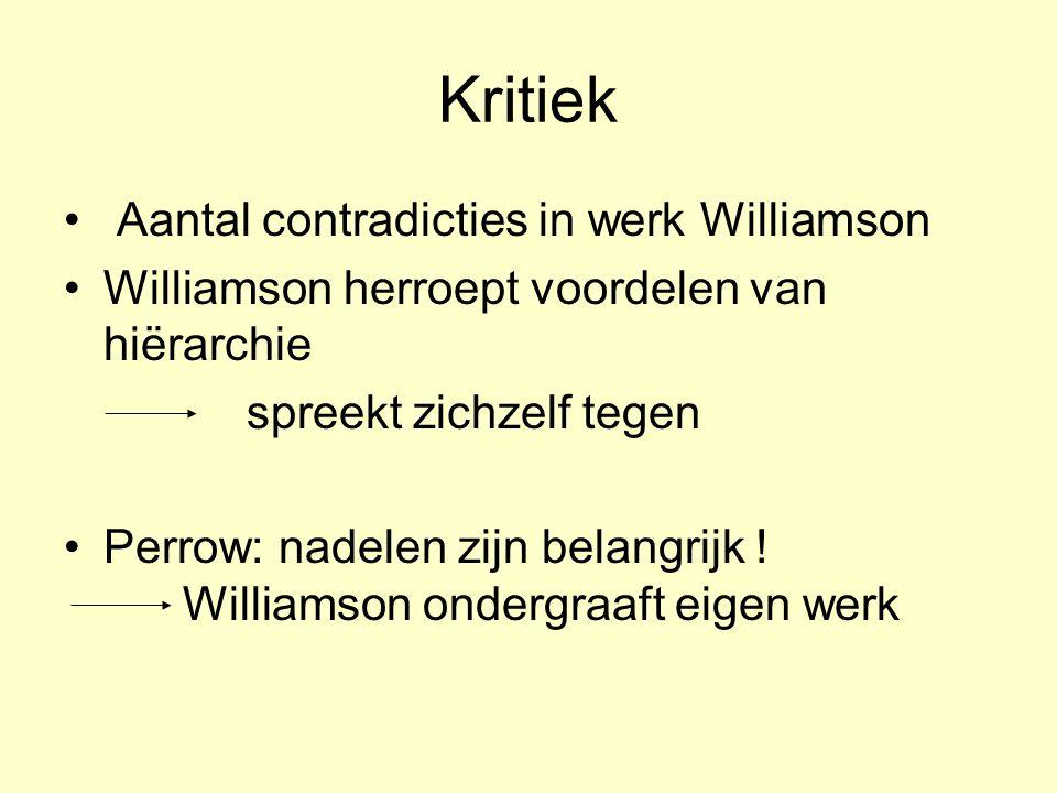 Kritiek Aantal contradicties in werk Williamson