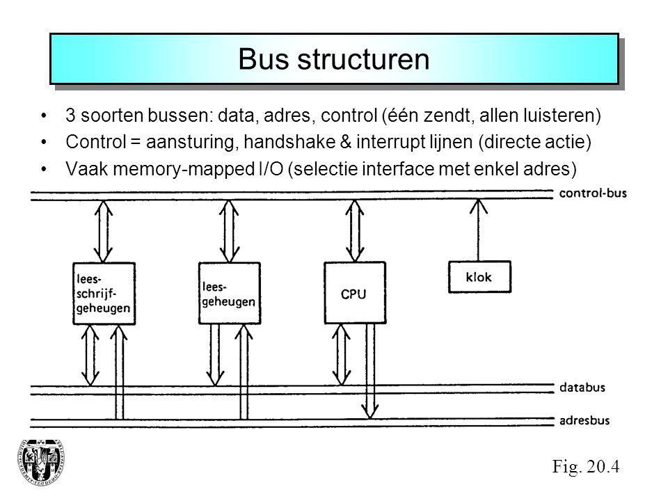 Bus structuren 3 soorten bussen: data, adres, control (één zendt, allen luisteren)