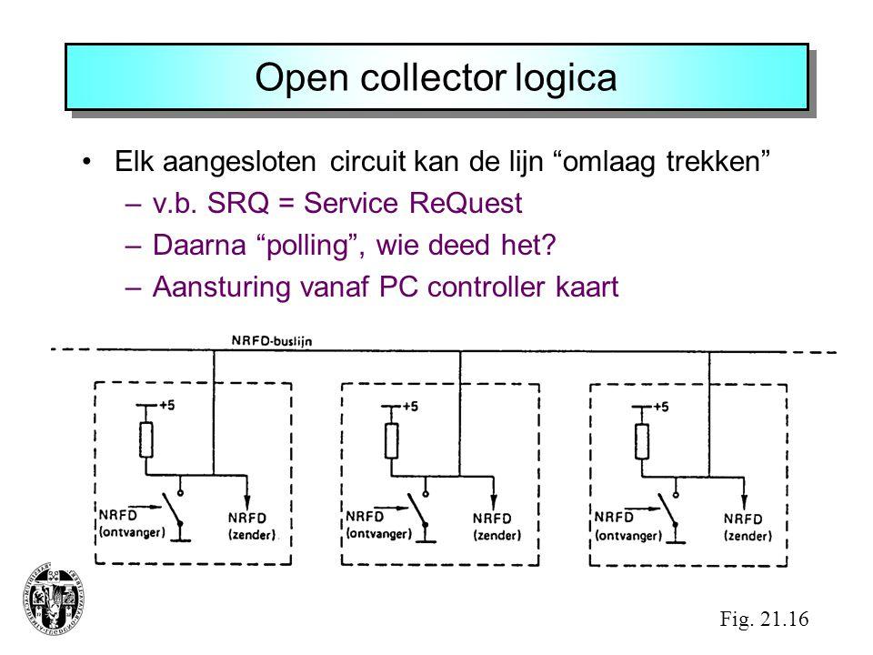 Open collector logica Elk aangesloten circuit kan de lijn omlaag trekken v.b. SRQ = Service ReQuest.
