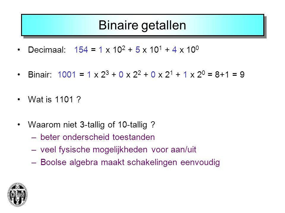 Binaire getallen Decimaal: 154 = 1 x 102 + 5 x 101 + 4 x 100