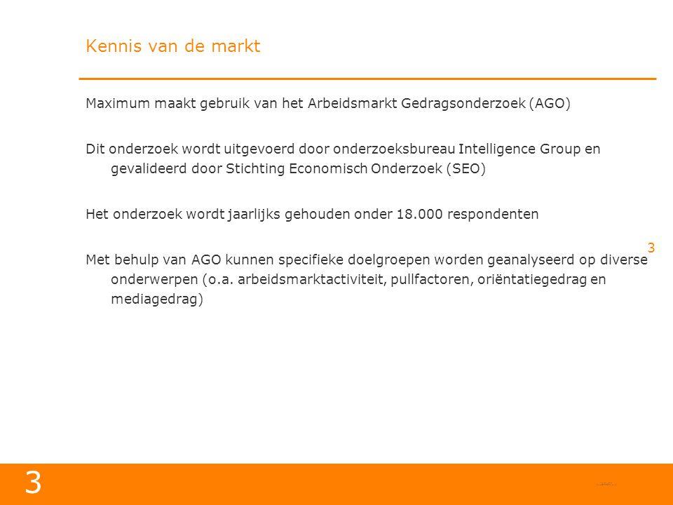 Kennis van de markt Maximum maakt gebruik van het Arbeidsmarkt Gedragsonderzoek (AGO)
