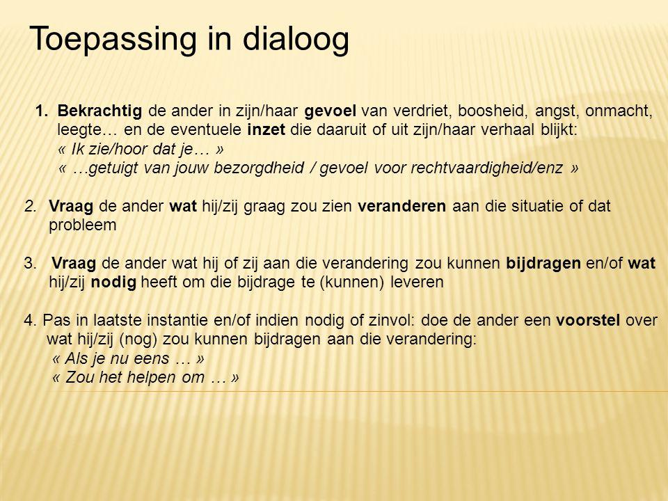 Toepassing in dialoog