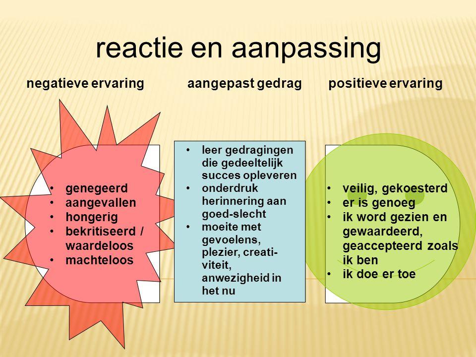 reactie en aanpassing negatieve ervaring aangepast gedrag
