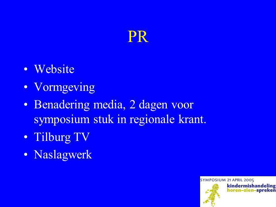 PR Website. Vormgeving. Benadering media, 2 dagen voor symposium stuk in regionale krant. Tilburg TV.