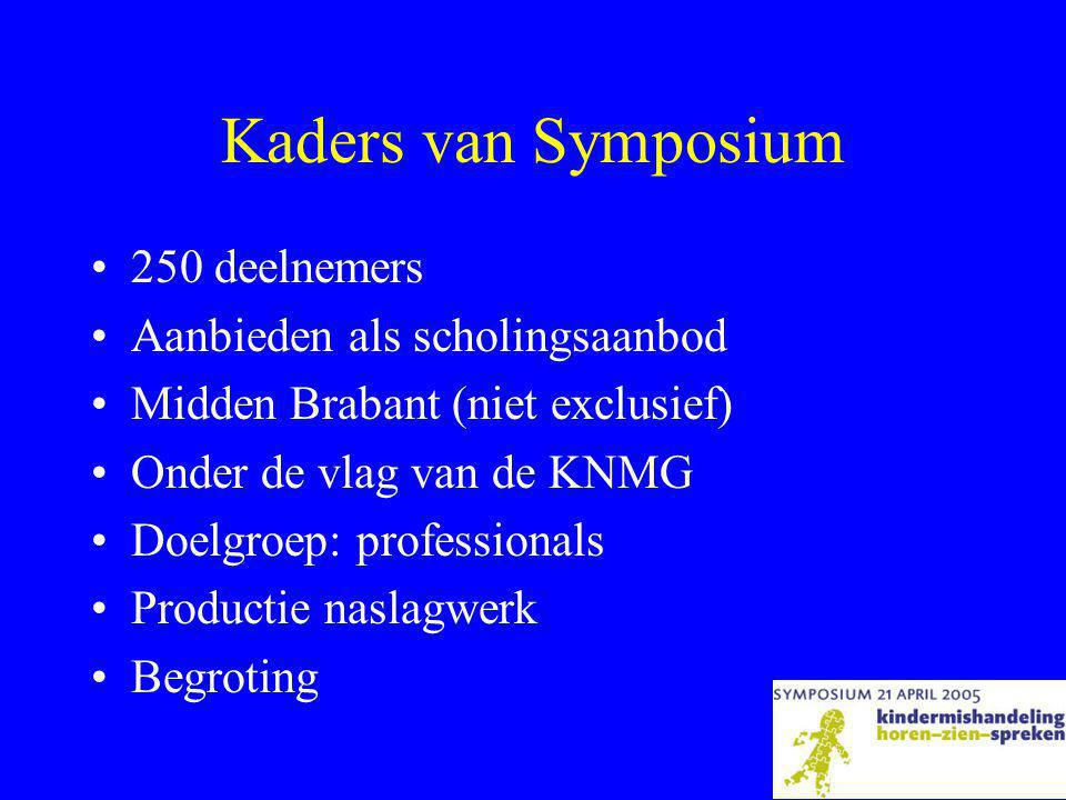 Kaders van Symposium 250 deelnemers Aanbieden als scholingsaanbod