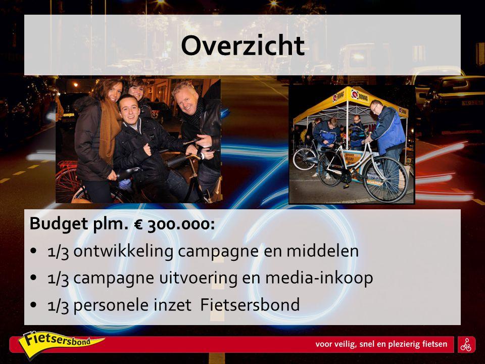 Overzicht Budget plm. € 300.000: 1/3 ontwikkeling campagne en middelen