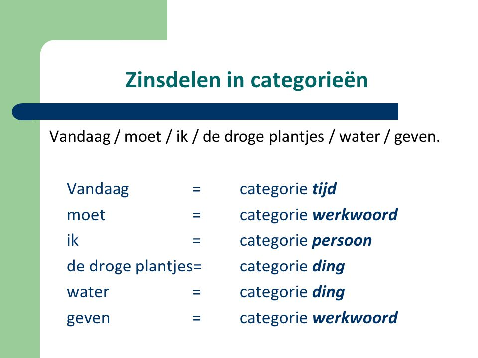 Zinsdelen in categorieën