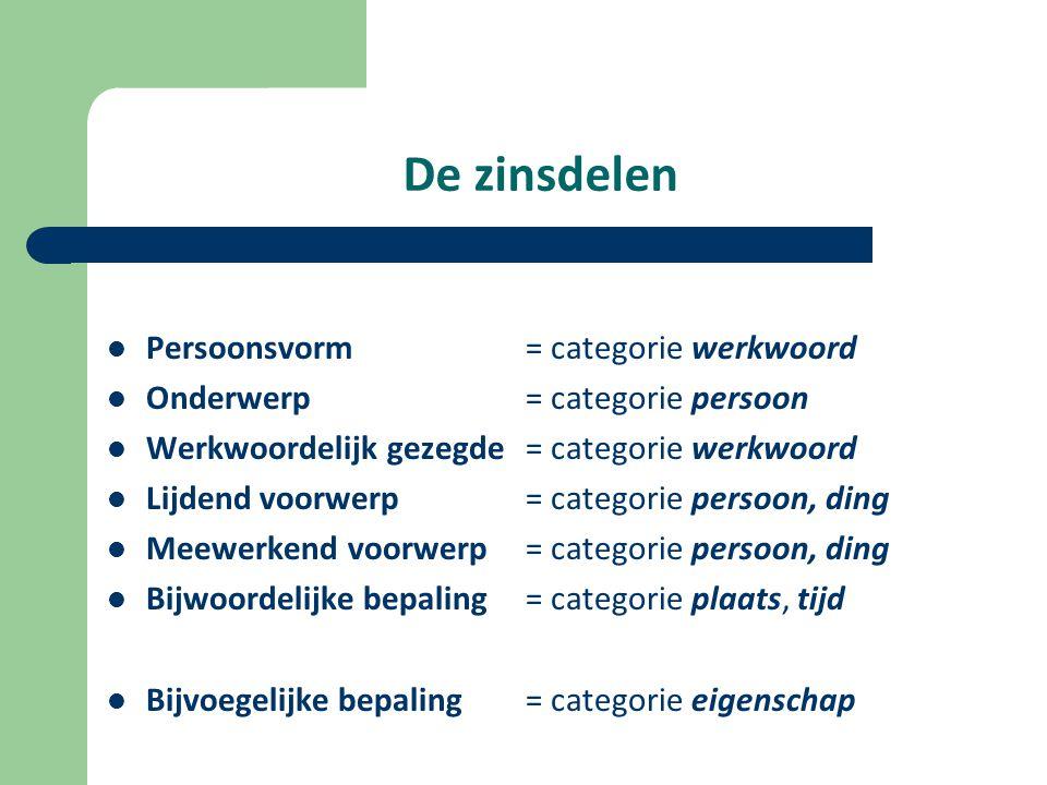 De zinsdelen Persoonsvorm = categorie werkwoord