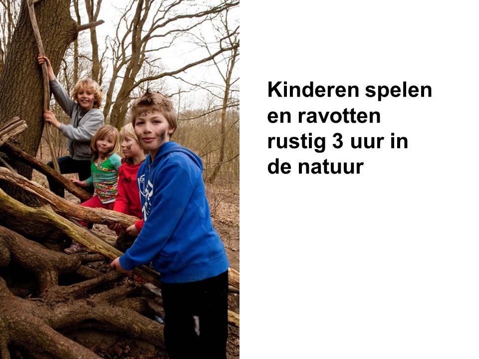 Kinderen spelen en ravotten rustig 3 uur in de natuur