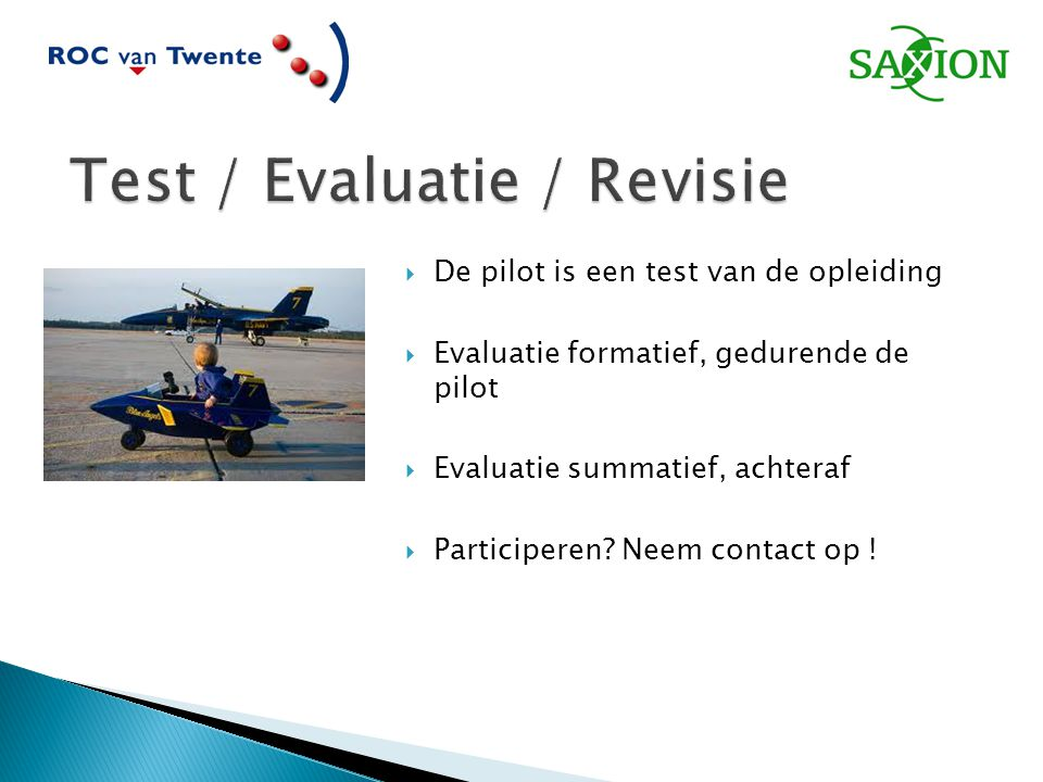 Test / Evaluatie / Revisie