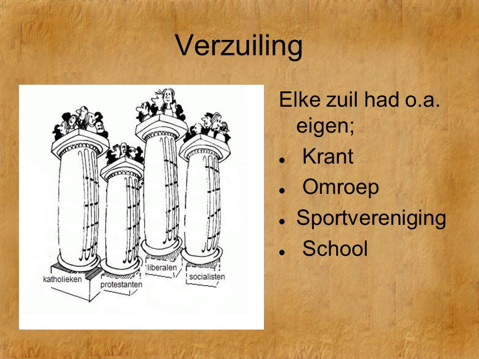 Verzuiling Elke zuil had o.a. eigen; Krant Omroep Sportvereniging