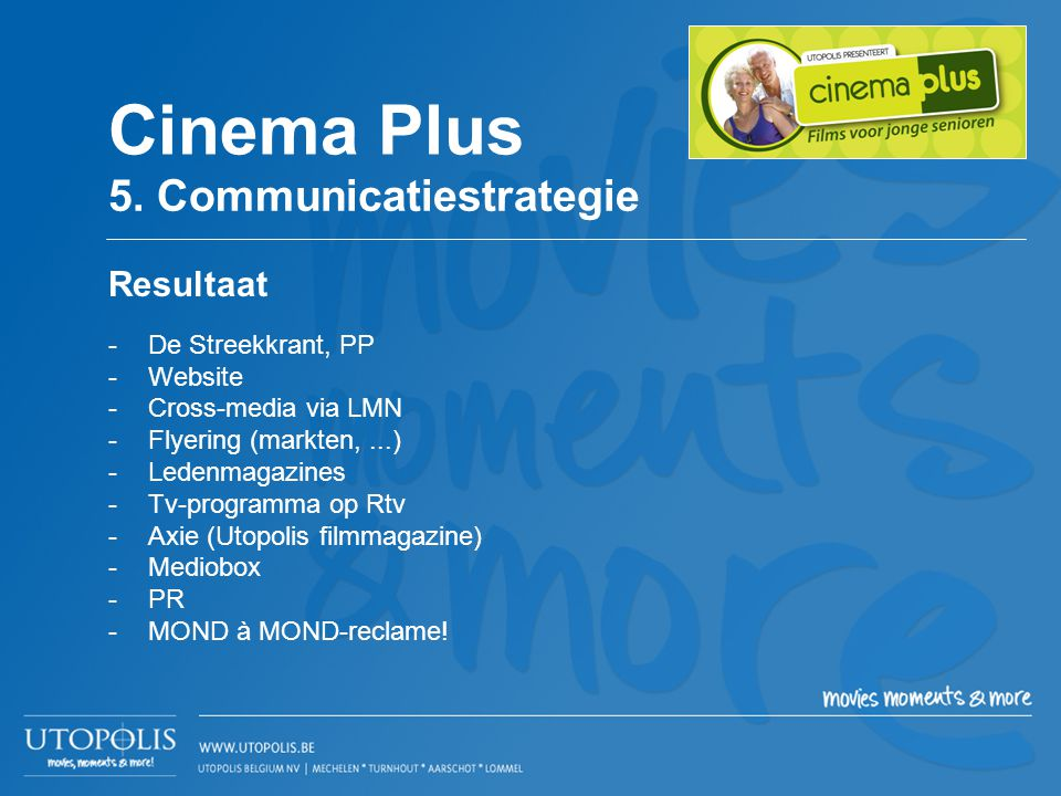 Cinema Plus 5. Communicatiestrategie Resultaat De Streekkrant, PP