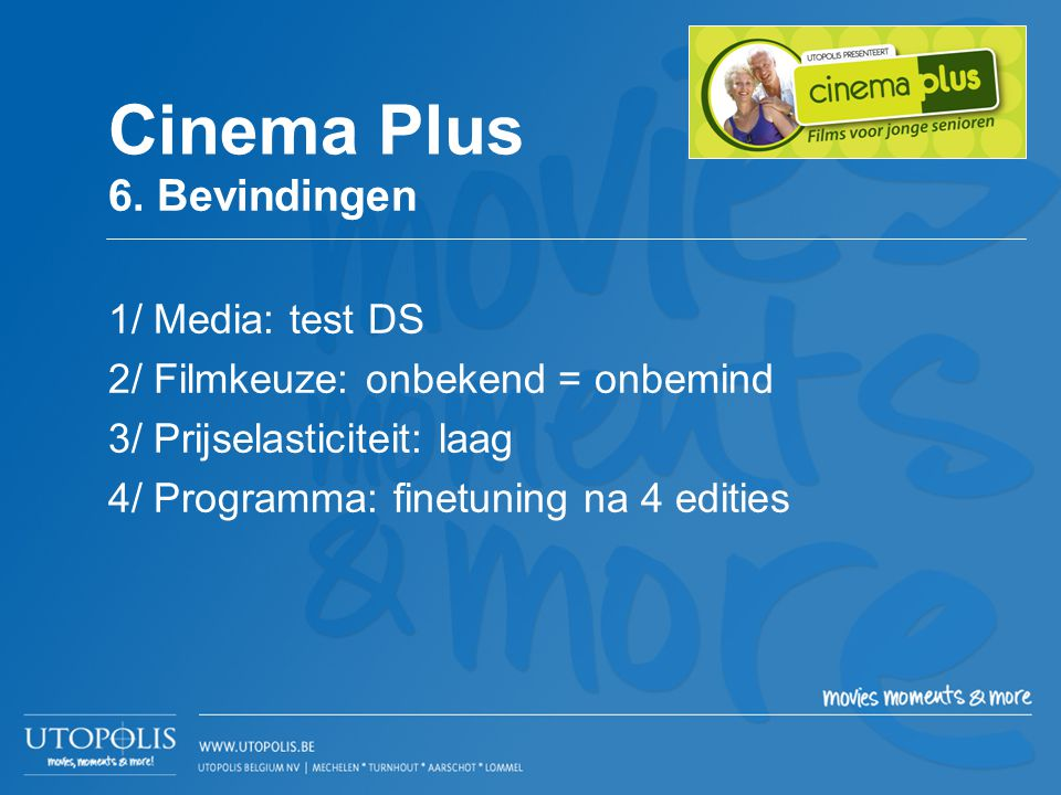 Cinema Plus 6. Bevindingen 1/ Media: test DS