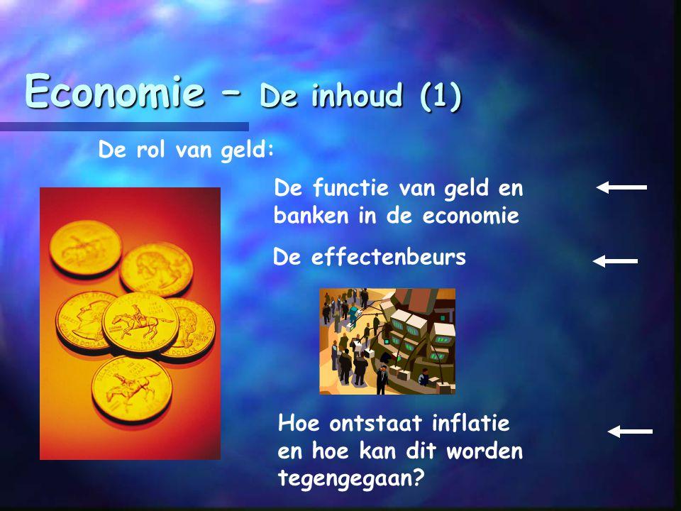 Economie – De inhoud (1) De rol van geld: