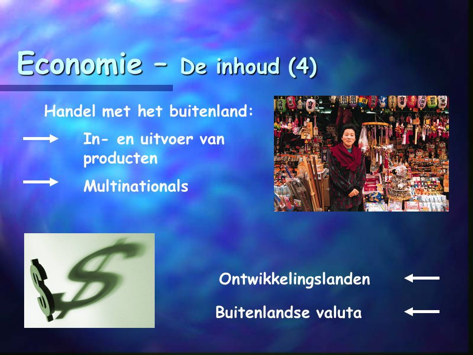 Economie – De inhoud (4) Handel met het buitenland:
