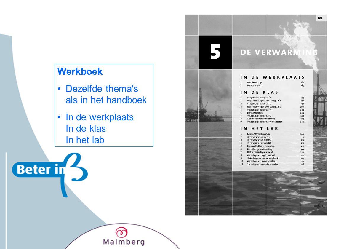 Werkboek Dezelfde thema s als in het handboek In de werkplaats In de klas In het lab