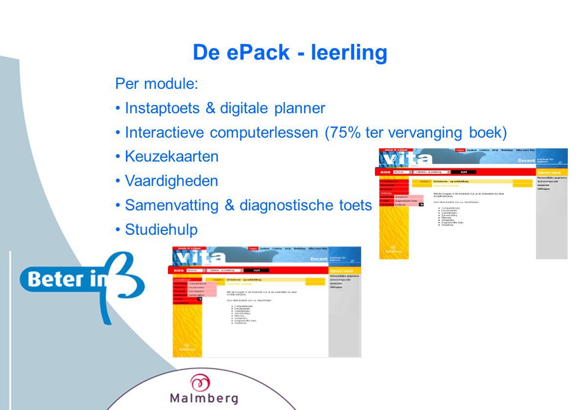 De ePack - leerling Per module: Instaptoets & digitale planner