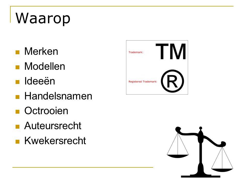 Waarop Merken Modellen Ideeën Handelsnamen Octrooien Auteursrecht