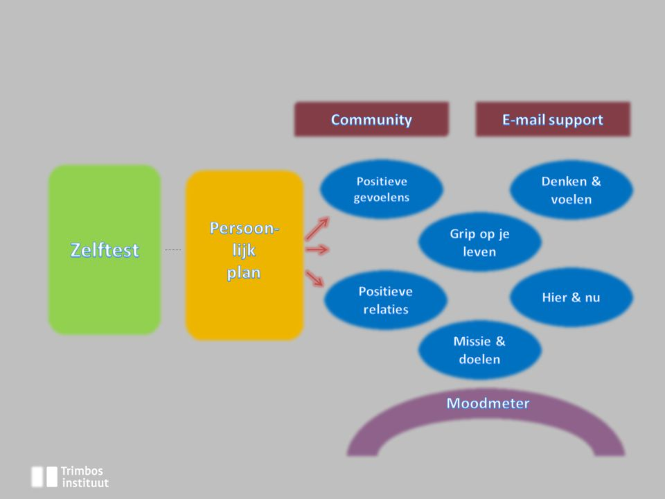 Zelftest Persoon- lijk plan Community E-mail support Moodmeter
