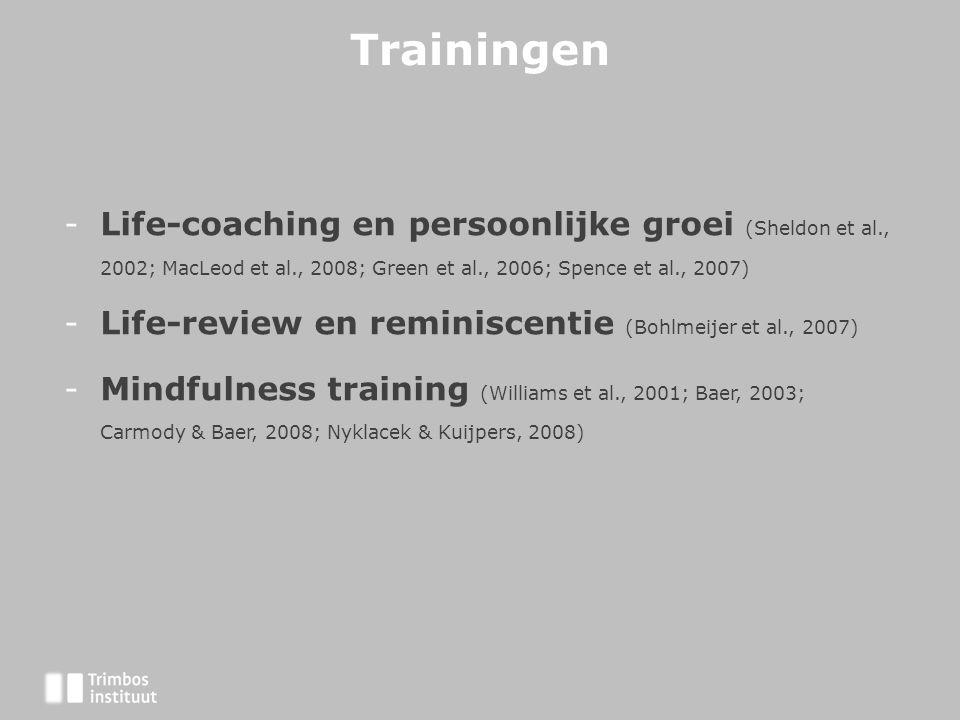 Trainingen Life-coaching en persoonlijke groei (Sheldon et al., 2002; MacLeod et al., 2008; Green et al., 2006; Spence et al., 2007)