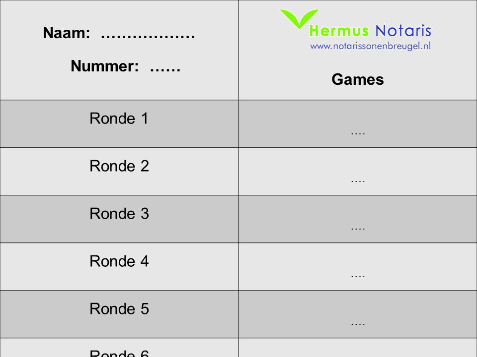 Naam: ……………… Nummer: …… Games Ronde 1 Ronde 2 Ronde 3 Ronde 4 Ronde 5