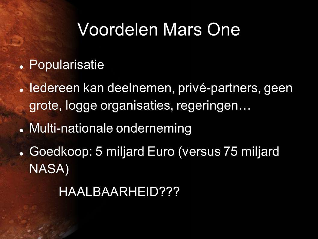 Voordelen Mars One Popularisatie