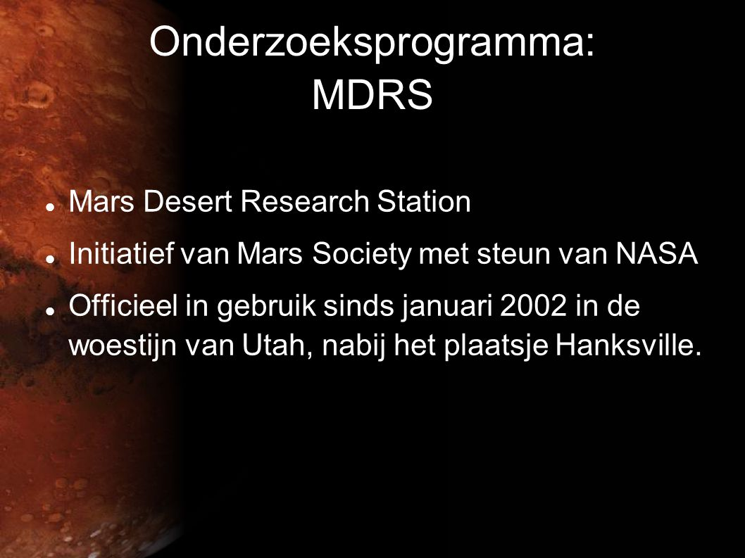 Onderzoeksprogramma: MDRS