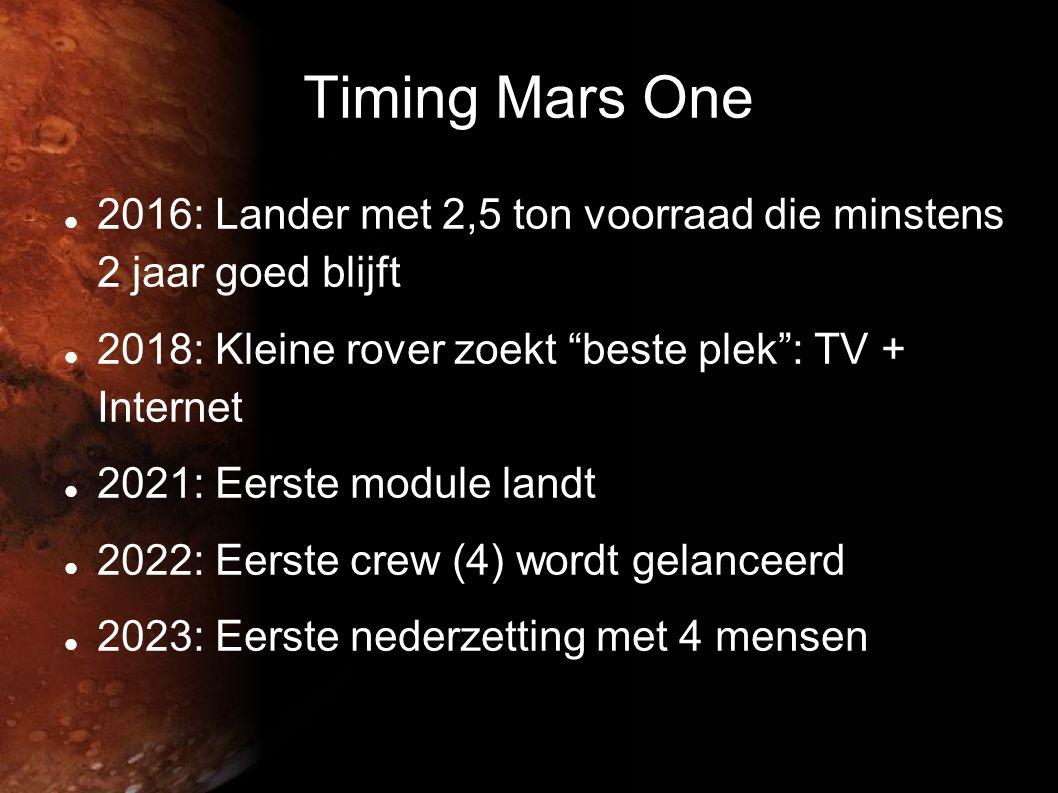 Timing Mars One 2016: Lander met 2,5 ton voorraad die minstens 2 jaar goed blijft. 2018: Kleine rover zoekt beste plek : TV + Internet.
