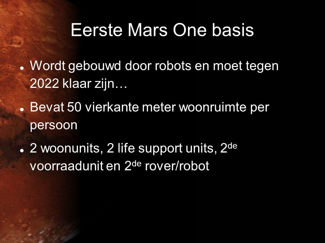 Eerste Mars One basis Wordt gebouwd door robots en moet tegen 2022 klaar zijn… Bevat 50 vierkante meter woonruimte per persoon.