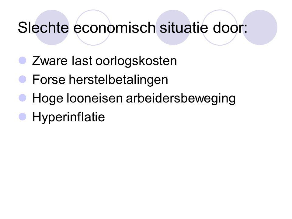 Slechte economisch situatie door: