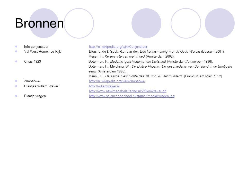 Bronnen Info conjunctuur http://nl.wikipedia.org/wiki/Conjunctuur