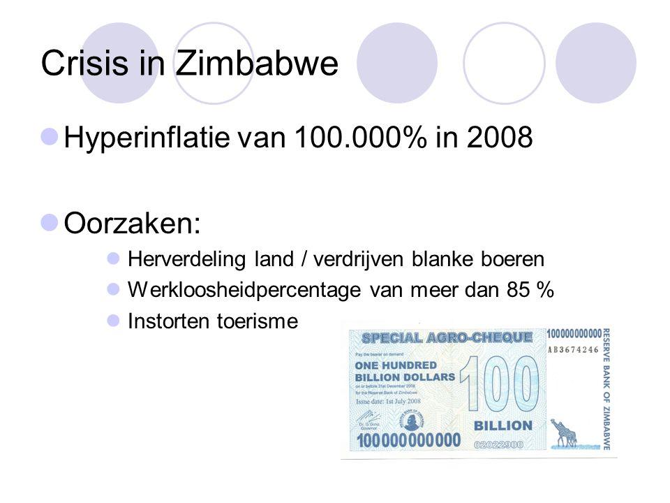 Crisis in Zimbabwe Hyperinflatie van 100.000% in 2008 Oorzaken: