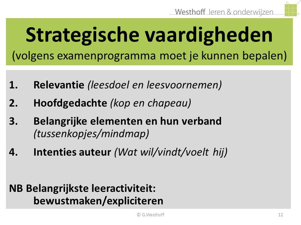 Strategische vaardigheden (volgens examenprogramma moet je kunnen bepalen)
