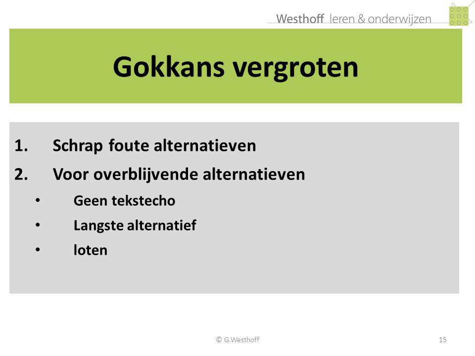 Gokkans vergroten Schrap foute alternatieven