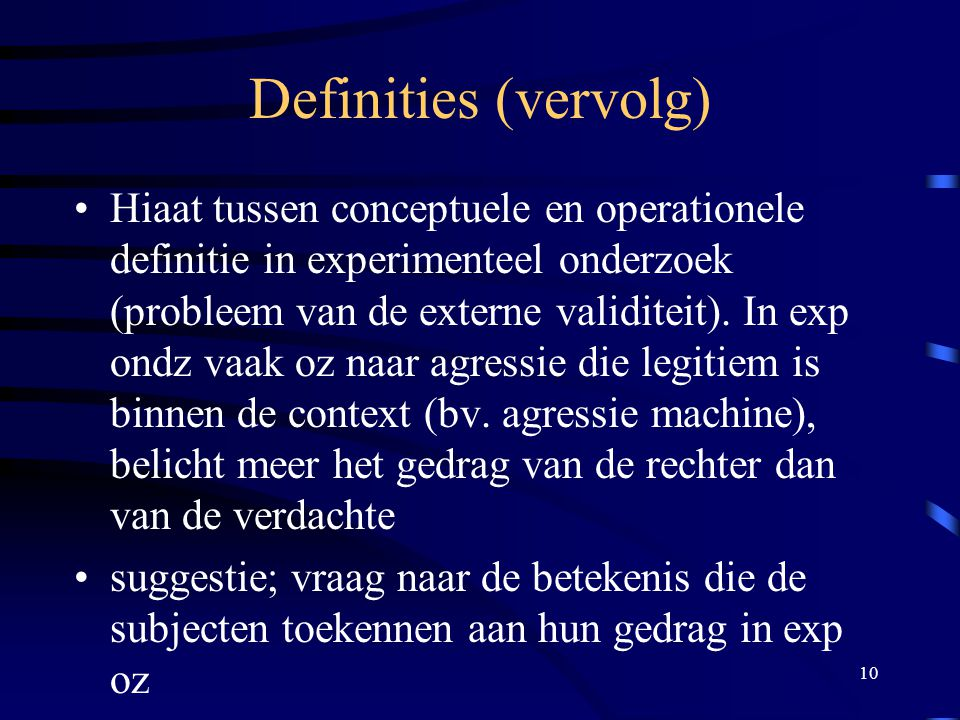 Definities (vervolg)