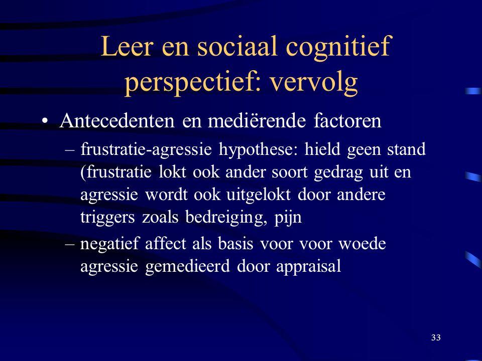 Leer en sociaal cognitief perspectief: vervolg