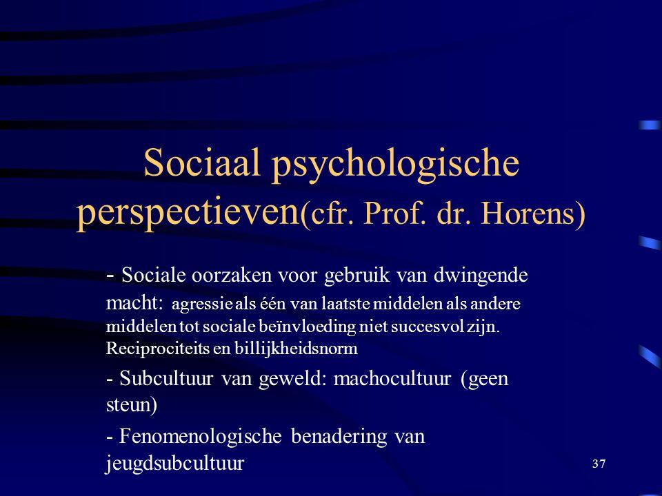 Sociaal psychologische perspectieven(cfr. Prof. dr. Horens)