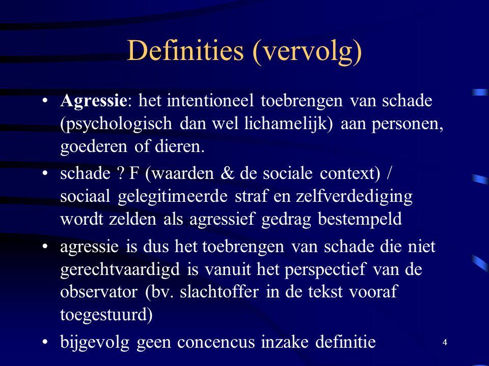 Definities (vervolg) Agressie: het intentioneel toebrengen van schade (psychologisch dan wel lichamelijk) aan personen, goederen of dieren.