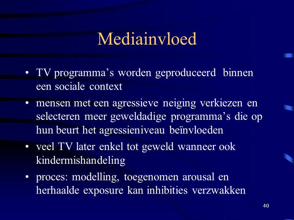 Mediainvloed TV programma's worden geproduceerd binnen een sociale context.