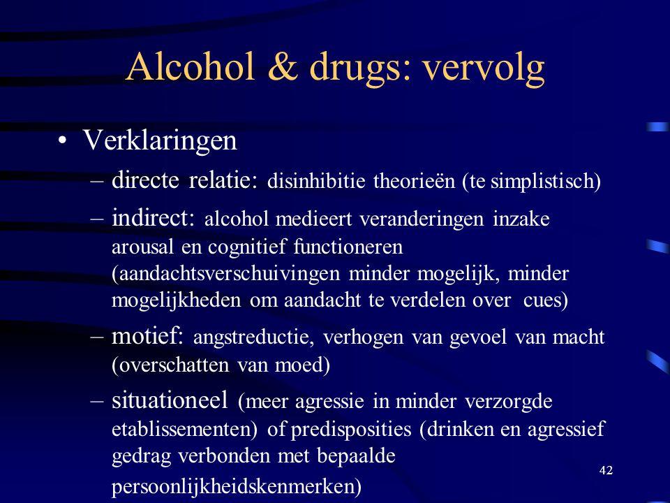 Alcohol & drugs: vervolg